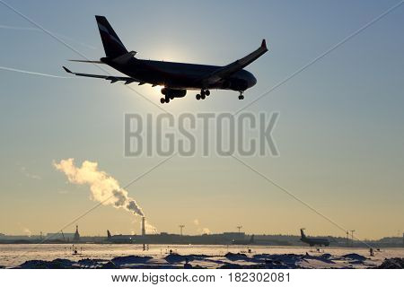 SHEREMETYEVO, MOSCOW REGION, RUSSIA - JANUARY 23, 2014: Aeroflot Airbus A330 VP-BLX landing at Sheremetyevo international airport.