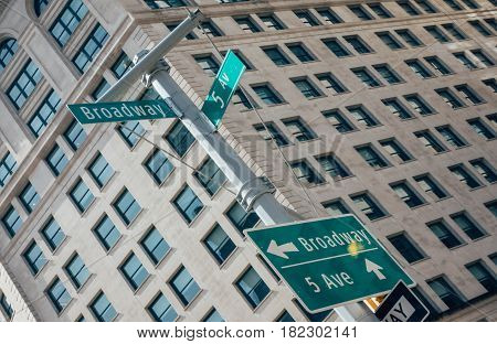Street sign of Fifth Ave and Broadway with skylines in background.- New York USA