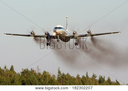 CHKALOVSKY, MOSCOW REGION, RUSSIA - JULY 18, 2013: Ilyushin IL-22 RF-95673 of Russian Air Force landing at Chkalovsky.