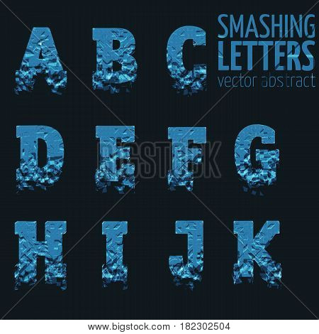 Abstract vector smashing mesh letters. Futuristic technology style alphabet. Eps 10