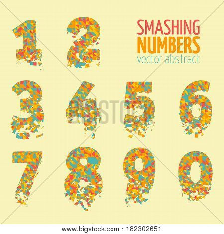 Abstract colorful vector smashing mesh numbers. Futuristic technology style alphabet. Eps 10
