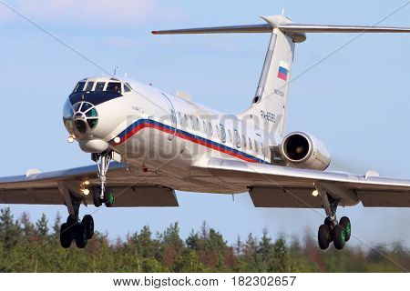 CHKALOVSKY, MOSCOW REGION, RUSSIA - JULY 18, 2013: Tupolev Tu-134A-3 RA-65689 of Russian Air Force landing at Chkalovsky.