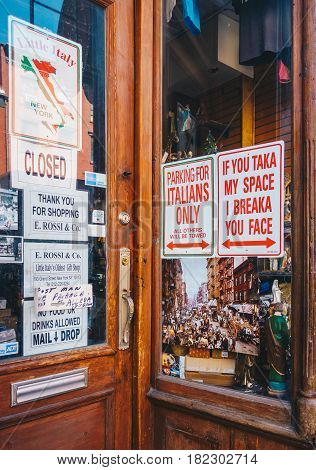 New York City USA - March 19 2017 : Welcome to Little Italy sign in Lower Manhattan. Little Italy sign for tourists
