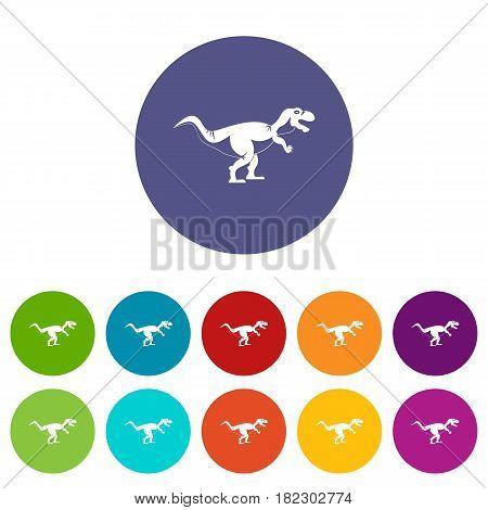 Tyrannosaur dinosaur icons set in circle isolated flat vector illustration