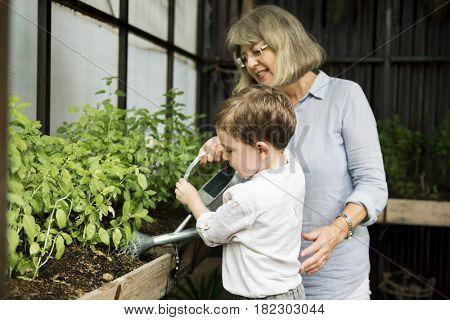 Grandma and Little Boy Gardening Concept