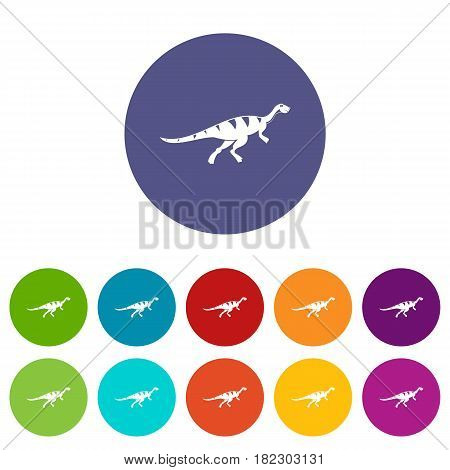 Stegosaurus dinosaur icons set in circle isolated flat vector illustration