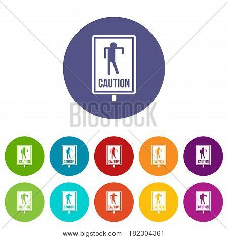 Zombie road sign icons set in circle isolated flat vector illustration