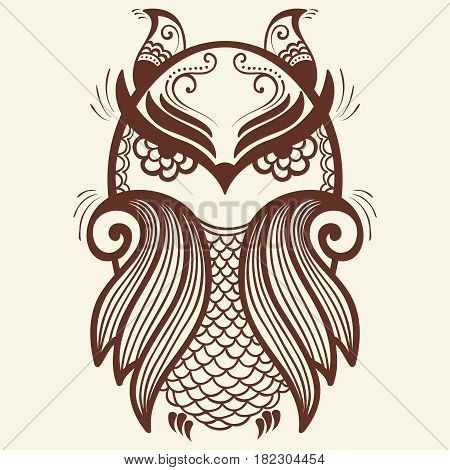 Vector illustration of owl mehndi ornament. Traditional indian style, ornamental floral elements for henna tattoo, stickers, mehndi and yoga design, cards and prints. Abstract floral vector illustration.