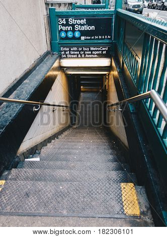 New York Usa - March 18 2017: One of the entrances down to subway system of New York. Entrance 34 Street Penn Station Line A C E.