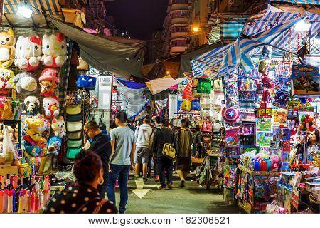 Market Scene At Temple Street, Hong Kong, At Night