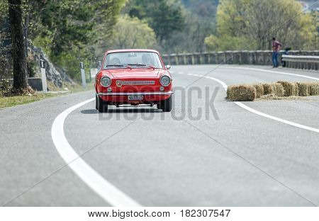 Trieste Italy - April 2 2017: Photo of a Abarth 850 Coupe OT on the Trieste Opicina Historic. Trieste Opicina Historic is regularity run for vintage and classic Cars.