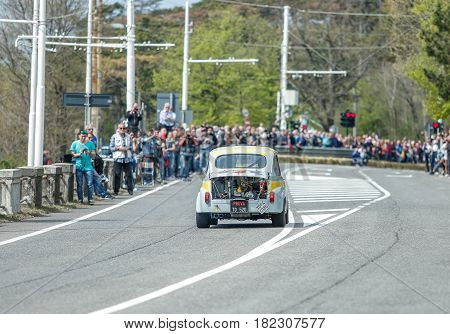 Trieste Italy - April 2 2017: Photo of a Abarth 850TC on the Trieste Opicina Historic. Trieste Opicina Historic is regularity run for vintage and classic Cars.
