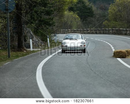Trieste Italy - April 2 2017: Photo of a Porsche Carrera 911 1973 on the Trieste Opicina Historic. Trieste Opicina Historic is regularity run for vintage and classic Cars.