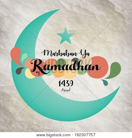 Vector illustration of Green crescent moon Eid Mubarak Blessed Eid card
