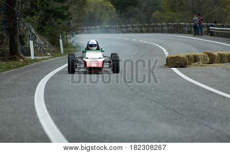 Trieste Italy - April 2 2017: Photo of a Abarth Formula Italia 1973 on the Trieste Opicina Historic. Trieste Opicina Historic is regularity run for vintage and classic Cars.