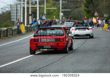 Trieste Italy - April 2 2017: Photo of a Fiat X1 9 model 1975 on the Trieste Opicina Historic. Trieste Opicina Historic is regularity run for vintage and classic Cars.