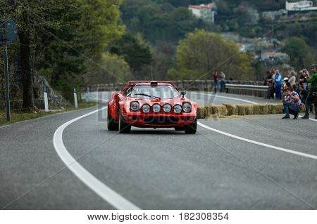 Trieste Italy - April 2 2017: Photo of a Lancia Stratos HF 1973 on the Trieste Opicina Historic. Trieste Opicina Historic is regularity run for vintage and classic Cars.