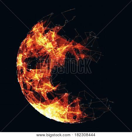Abstract vector polygonal cyber sphere. Triangle spherical mesh background. Futuristic 3D illuminated distorted sphere of glowing particles and polygons. Digital splash. UI or HUD element.