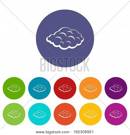 Cumulus cloud icons set in circle isolated flat vector illustration