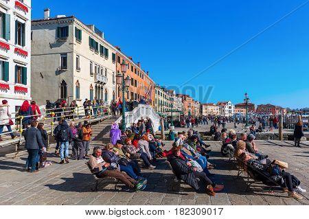 Promenade At The Lagoon In Venice, Italy