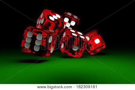 Five red rolling dices on green casino table. Concept of gambling.