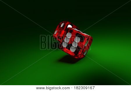 Two rolliing dices on green casino table. Concept of gambling.