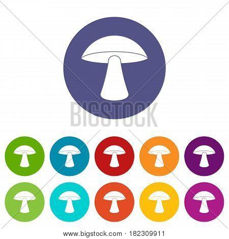 Tubular mushroom icons set in circle isolated flat vector illustration