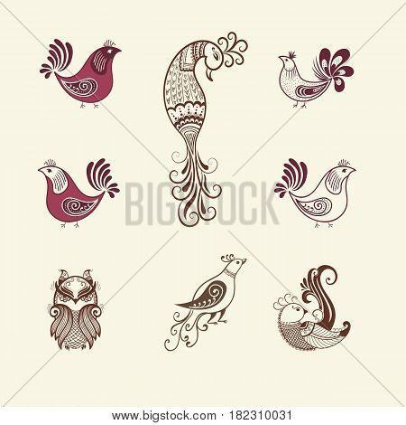 Vector illustration of birds mehndi ornament. Traditional indian style, ornamental floral elements for henna tattoo, stickers, mehndi and yoga design, cards and prints. Abstract floral vector illustration.