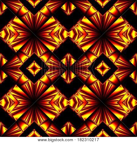 stylized seamless pattern with arrows, crosses and lozenges in the colors of the fire reflected from the surface