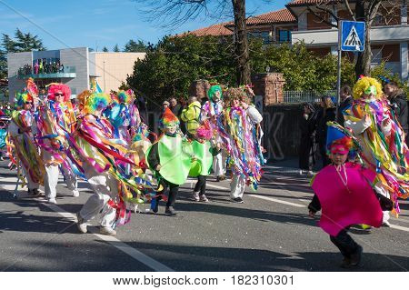 OPICINATRIESTE ITALY - FEBRUARY 25: Unidentified participants in parade of the Carnival. Kraski Pust o Carnevale Carsico. The Carnival Carsico Kraski on February 25 2017