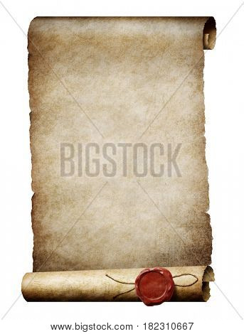 old parhment scroll with wax royal seal 3d illustration