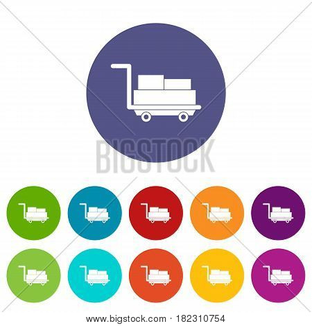 Cart with luggage icons set in circle isolated flat vector illustration