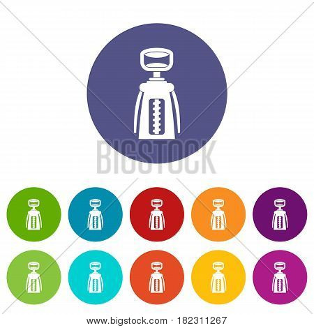Modern corkscrew icons set in circle isolated flat vector illustration