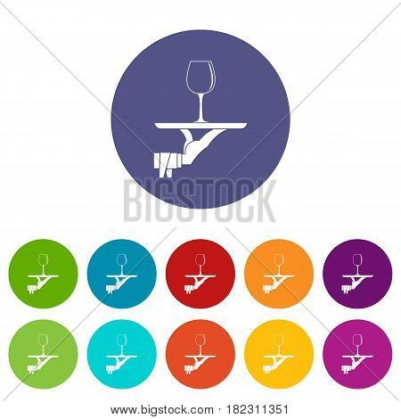 Waiter hand holding tray with wine glass icons set in circle isolated flat vector illustration