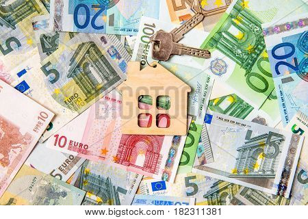 The symbol of the house lies on the background of the Euro