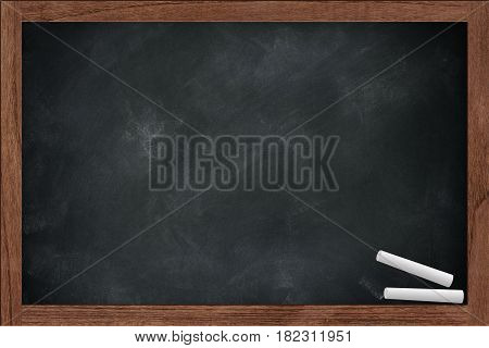 Empty Chalkboard, Chalk Board With Chalk Dirty With Chalk Erase Stain In The School Space For Chalk