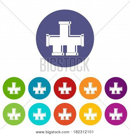 Drain system icons set in circle isolated flat vector illustration