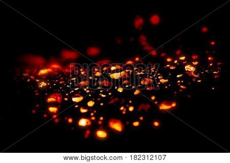 lava drop or red fire burn magma effect drop in black background