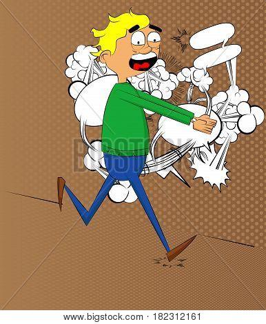 Retro style simple cartoon man is on the run. Vector illustration.