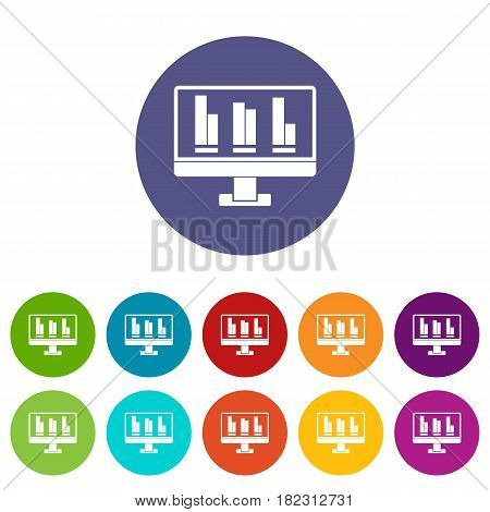 Business graph at computer screen icons set in circle isolated flat vector illustration