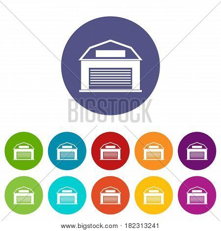 Industrial building icons set in circle isolated flat vector illustration