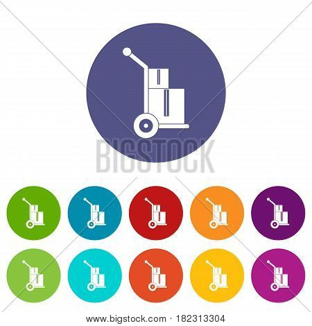 Truck with boxes icons set in circle isolated flat vector illustration