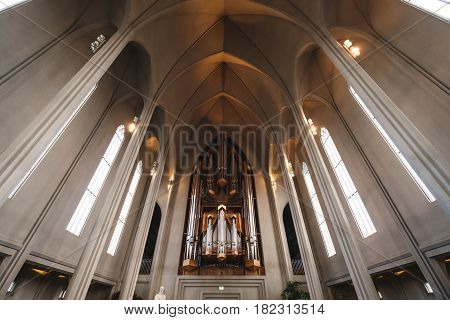 REYKJAVIK, ICELAND - 11 MAR - Hallgrímskirkja Church interior, popular landmark in Reykjavik, Iceland on March 11, 2017