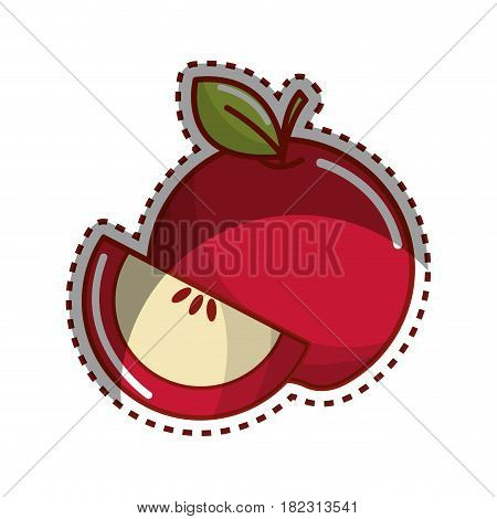 sticker red apple fruit icon stock, vector illstration design image