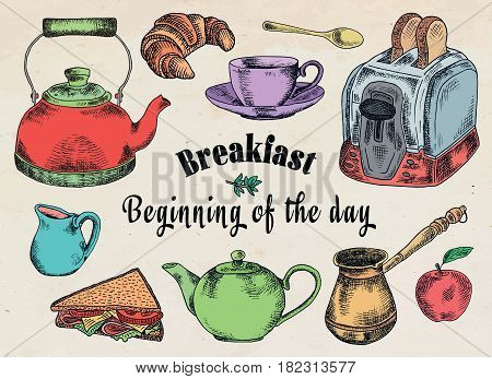breakfast illustration. Toaster, bread, toast, apple, fruit, Turkish coffee pot, kettle, sandwich, snacks, milk pot, mug, cup, croissant, kettle, brewer, spoon, dessert