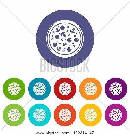 Pizza box cover icons set in circle isolated flat vector illustration