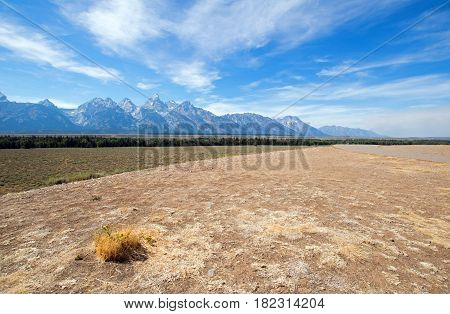 Grand Tetons Peaks Seen From Glacier View Turnout In Grand Teton National Park In Wyoming Usa
