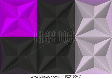 Pattern Of Black, White And Violet Pyramid Shapes