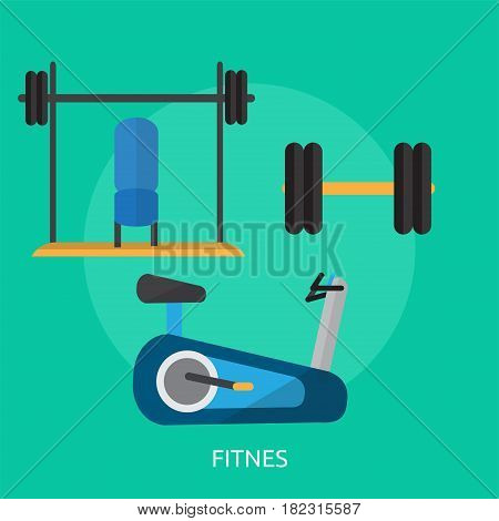 Fitnes Conceptual Design | Great flat illustration concept icon and use for sport, award, hobby, job, and much more. the set can be used for several purposes like: websites, print templates, presentation