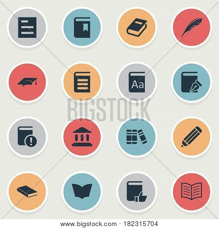 Vector Illustration Set Of Simple Books Icons. Elements Academic Cap, Notebook, Recommended Reading And Other Synonyms Encyclopedia, Literature And Quill.